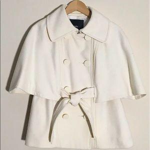 Women Wool Cape Double-Breasted Coat,White,Medium